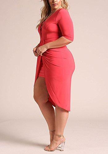 Surplice Dress Bodycon Deb Plunge Debshops Dark Womens Cross Size Coral Plus Shops Strap wxvqH84