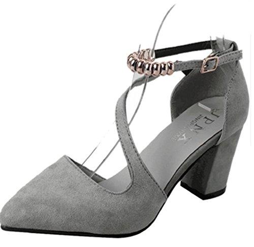 pengweiEstate puntata spessa con una fibbia di parole beaded sandali superiori talloni talloni moda scarpe