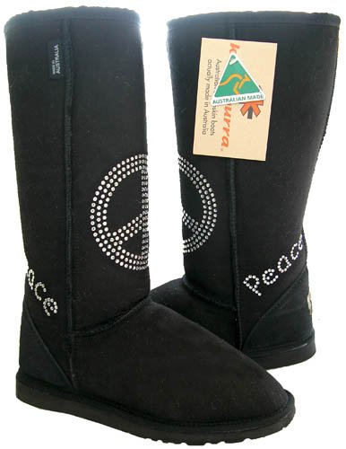 (KOOLABURRA Unisex Flash Peace Sign Boot,Black,Men's 4 M/Women's 5)