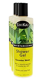 Shikai - Daily Moisturizing Shower Gel, Rich in Aloe Vera & Oatmeal That Leaves Skin Noticeably Softer & Healthier, Relief For Dry Skin, Gentle Soap-Free Formula (Cucumber Melon, 12 Ounce, Pack of 3)