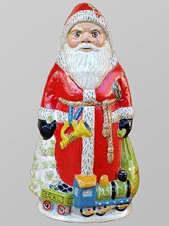 Red Father Christmas with Train Chalkware Figure