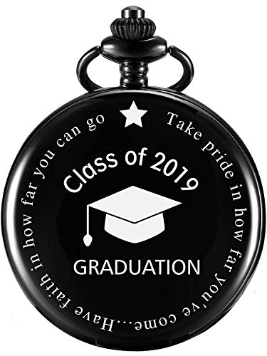 MJSCPHBJK Graduation Gift Pocket Watch, Personalized Engraved 'Class of 2019' Perfect College, High School Graduation Gift or Present for Son with Storage Box