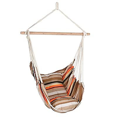 EverKing Hanging Rope Hammock Chair Porch Swing Seat, Large Hammock Net Chair Swing, Cotton Rope Porch Chair for Indoor, Outdoor, Garden, Patio, Porch, Yard - 2 Seat Cushions Included