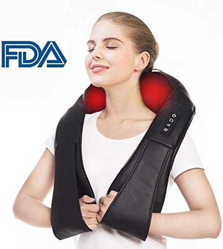 Electric Neck Back Electric Shiatsu Massager Heat Deep 4D Kneading Massage, Relieve Muscle Tightness for Neck, Back, Waist, Thigh, Feet, Calf, Arm, Shoulder and Use at Bedroom, Office, Cars