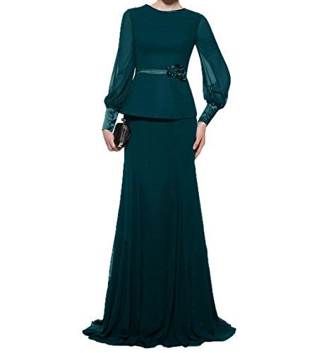 Festlichkleider Damen Partykleider Abendkleider Tuerkis Charmant Brautmutterkleider Dunkel Chiffon Etuikleider Langarm Ballkleider n4d6Hn8xqw