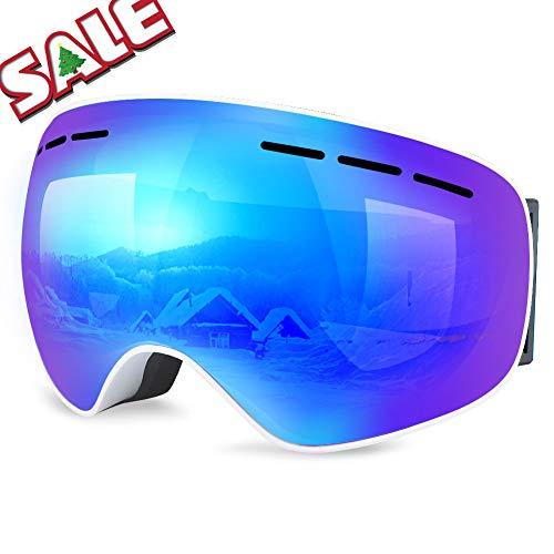 「2018-19NEW모델」WEINAS 스키 고글 스노우 고글 흐려 방지 방풍 안경 대응 전천후형 180°넓은 시야 상처 방지 맨즈 레이 디 스노보드 고글 경량내 충격 안전성 높은 더블 렌즈 등산/고등어 가이아/오토바이/스키 운동에 적용
