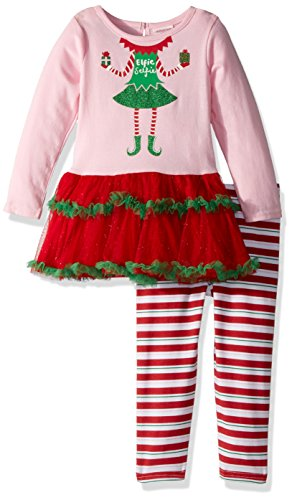 [Youngland Little Girls' Christmas Elf Tutu Dress and Legging, Pink/Red, 6x] (Elf Outfits For Kids)
