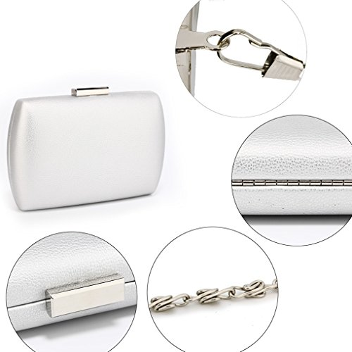 HARD Out Evening Party LeahWard CLUTCH Case Clutch Hard Dinner Wedding Night SILVER Women's CASE For Purse Handbags q4vx6