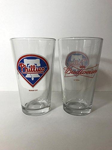 Budweiser - Philadelphia Phillies - Liberty Bell - 16 Ounce Glass - 2 Pack