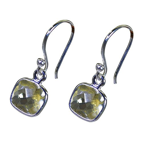 (Silver Earrings Genuine Citrine For Women Cushion Shape Fish Hook Sterling November Birthstone Jewelry)