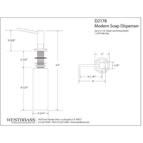 Westbrass D2178-12 Contemporary Soap/Lotion Dispenser Unit, Oil Rubbed Bronze durable service