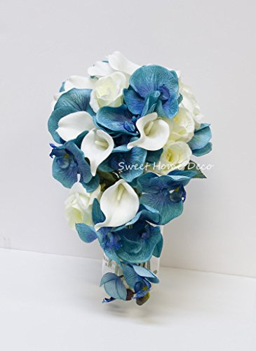 Sweet Home Deco Silk Phanaenopsis Orchid Rose Calla Lily Mixed Wedding Bridal Bouquet Bridesmaid Bouquet Boutonniere Blue and White (Blue/White--Bridal (Cascading Rose Bouquet)