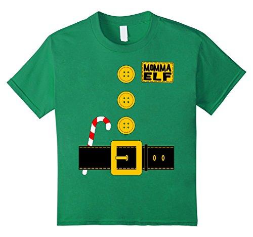 Kids Momma Elf T-shirt Matching Family Christmas Santa Costume 10 Kelly Green - Momma's Boy Costume