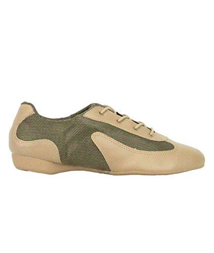 Só Dança DK30 Dance Sneaker Zapatilla de Baile Sintético/Mesh Salsa Hip Lindy Swing Profesional Shuffle Dance Zapatilla suela entera PU caramel/dorado