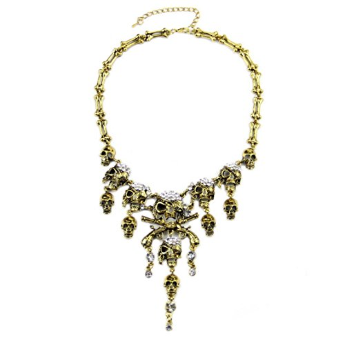 PSNECK Pirates of the Caribbean Design Choker Jewelry Vintage Bones Chains Rhinestones Skulls Pendants (Womens Plus Size Authentic Caribbean Pirate)