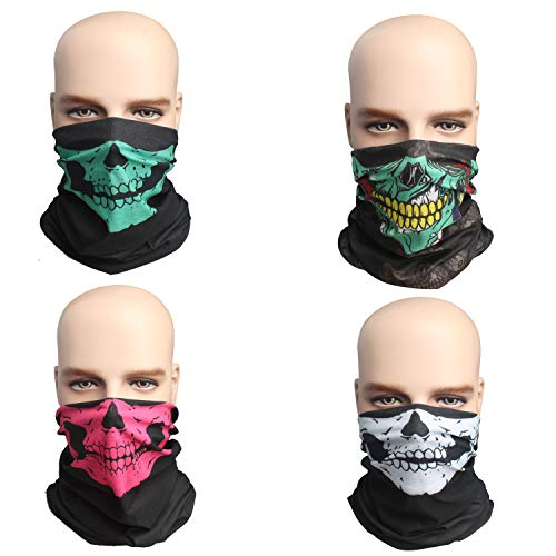 Pack Of 4 Outdoor Sport Seamless Magic Scarf Outdoor Motorcycle Skull Mask Sun Balaclava Hat