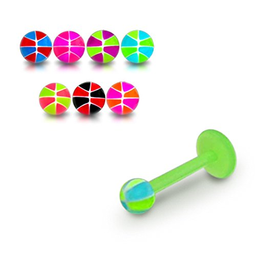 16Gx5/16 (1.2x8MM) Bioflex Lip Labret with 3MM UV Multi Colored Basketball Ball Piercing jewelry - 10 Pieces Assorted Color as Show