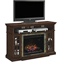ClassicFlame 28MM6307-C270 Lakeland TV Stand for TVs up to 65, Roasted Cherry (Electric Fireplace Insert sold separately)