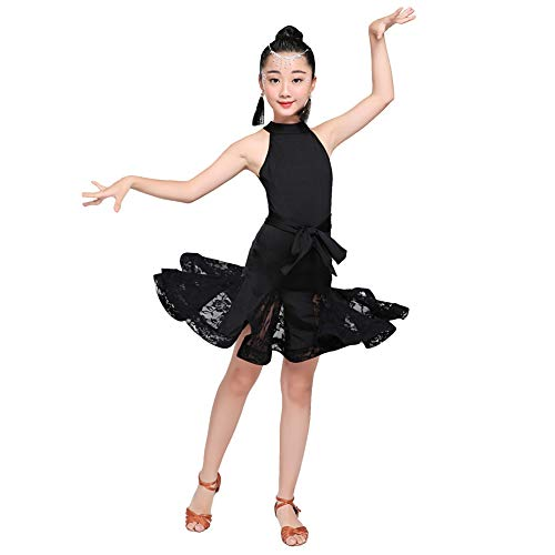 LOLANTA Girls Latin Dance Dress Modern Ballroom Dancewear Party Ball Dresses Costume (Black, 8-10) -