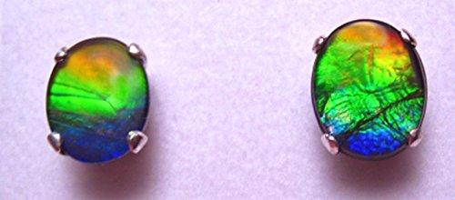 Ammolite 925 Sterling Silver 10 x 8mm Oval Earrings #49SE