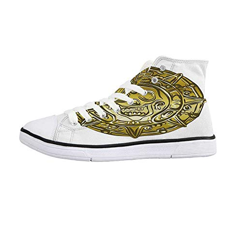 - Pirate Comfortable High Top Canvas ShoesGold Money Pirate Coin Medallion Scary Skull Figure Ancient Antique Currency Print Decorative for Women Girls,US 10