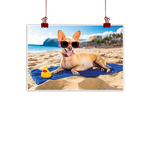 "Wall Art Painting Print Funny,Chihuahua Dog at The Ocean Shore Sunbathing Smiling Coastal Charm Print,Sand Brown Light Blue 32""x24"" for Bathroom Bedroom Pictures"