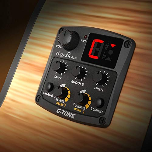 GT-6 Acoustic Guitar Preamp Piezo Pickup, 3 Band EQ Equalizer LCD Tuner Reverb Delay Chorus .Wide Effect Musical Instrument