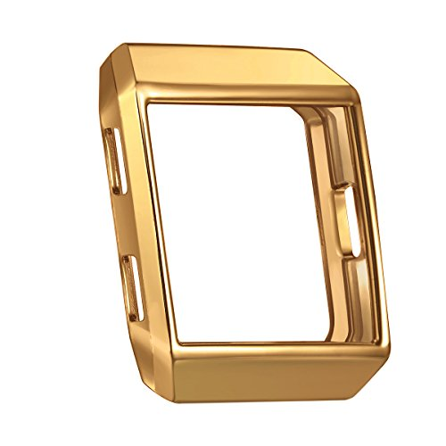 For Fitbit Ionic Case, bayite Soft TPU Protector for Fitbit Ionic Accessories Rugged Protective Frame Shockproof Cover Shell For Ionic Smart Watch (Gold Color Screen)