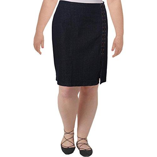 Lauren Ralph Lauren Womens Plus Zatell Denim Lace Up Straight Skirt Navy 14W -