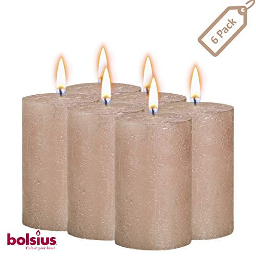 BOLSIUS Rustic Full Metallic Rose Gold Candles - Set of 6 Unscented Pillar Candles - Rose Gold Candles with a Full Metallic Coat - Slow Burning - Perfect Décor Candle - 130/68m 5 X 2.75 Inches -