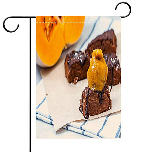 (BEICICI Garden Flag Double Sided Decorative Flags Pumpkin Vegan Brownie with Pumpkin ice Cream Best for Party Yard and Home Outdoor Decor)