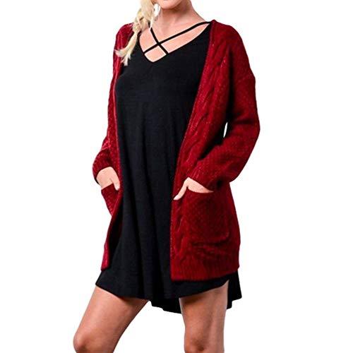 Baijiaye Femmes Long Cardigans en Tricot Veste Grosse Maille Manches Longues Pull Gilet Casual Printemps Automne Vin Rouge