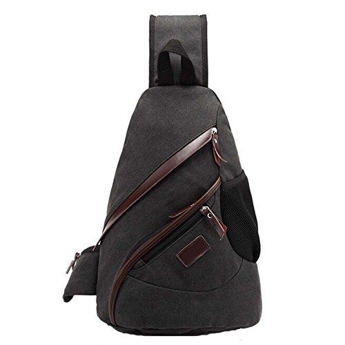 Win8Fong Men 's Pro–Bolsa de lona triángulo pecho bolsa mochila Cruz Cuerpo Bolso de hombro de bolsas bolsa negro