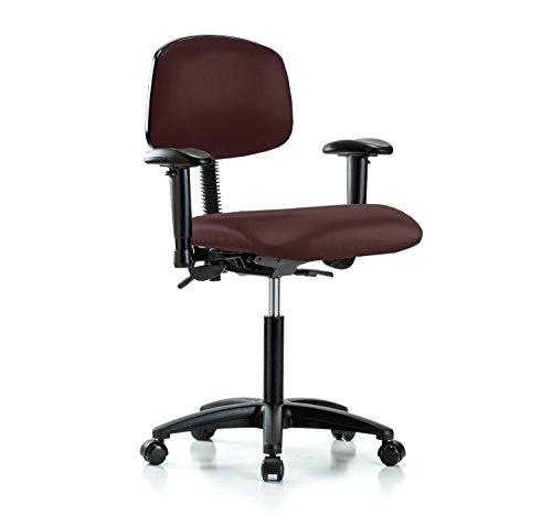 Multi Swivel Task (PERCH Rolling Multi Task Swivel Chair for Hardwood or Tile Floors, Workbench Height, Burgundy Fabric)