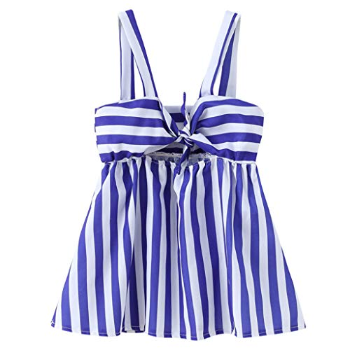 (Sunhusing Children's Little Girl Sleeveless Sling Bow Stripe Print Summer Sundress Princess Mini)