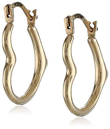 - 14k Yellow Gold Heart Hoop Earrings