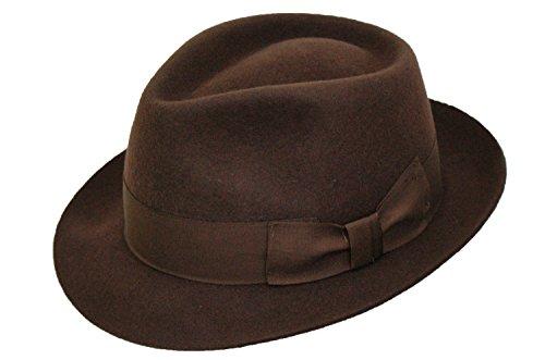 Pour homme Fait main 100%  laine Marron Manhattan feutre Fedora Chapeau Trilby à large bande