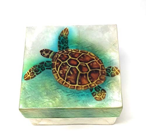 Kubla Craft Sea Turtle Capiz Shell Keepsake Box, 4 Inches Square