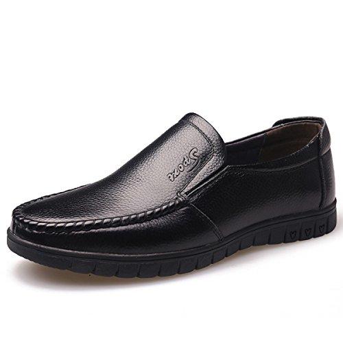 GRRONG Chaussures En Cuir Pour Homme Moyen-âge De Loisirs En Cuir Véritable Noir Black Ig7U0aDepK