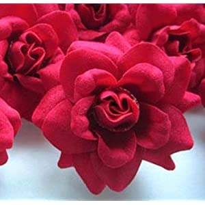 """(24) Silk Red Roses Flower Head - 1.75"""" - Artificial Flowers Heads Fabric Floral Supplies Wholesale Lot for Wedding Flowers Accessories Make Bridal Hair Clips Headbands Dress 3"""