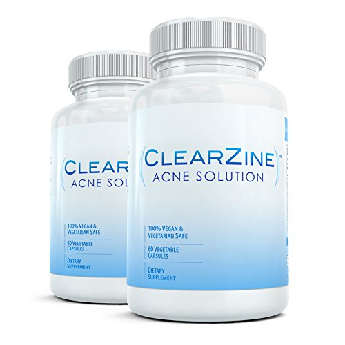 ClearZine (2 Bottles) - The Top Rated Acne Treatment Pill. Eliminates Blotchiness, Redness, Blackheads and Zits,Each bottle contains 60 capsules