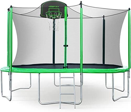 Merax 12FT Trampoline with Safety Enclosure Net, Basketball Hoop and Ladder – BV Certificated Basketball Trampoline