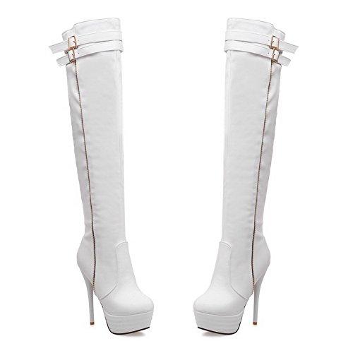 AllhqFashion Damen Hoher Absatz Blend-Materialien Überknie Hohe Stiefel Stiefel Weiß