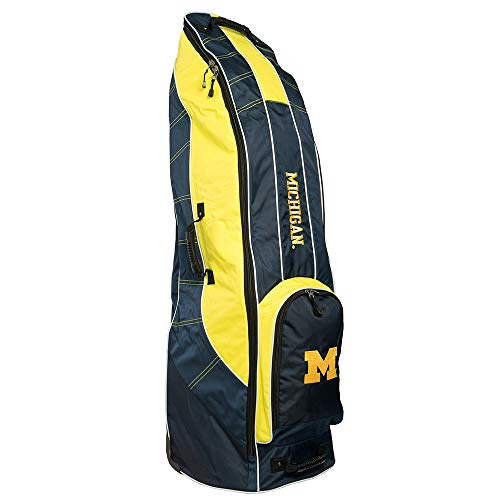 Team Golf NCAA Michigan Wolverines Travel Golf Bag, High-Impact Plastic Wheelbase, Smooth & Quite Transport, Includes Built-in Shoe Bag, Internal Padding, & ID Card Holder ()