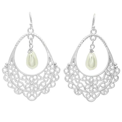 Filigree Teardrop Boutique Style Dangle Earrings (Imitation Pearl Center Silver Tone) ()