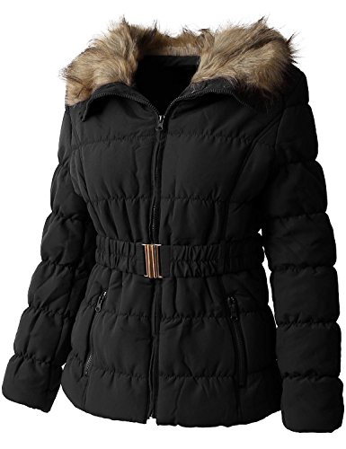 Ma Croix EC Womens Quilted Faux Fur Lined Belted Coat (Faux Fur Belted Coat)