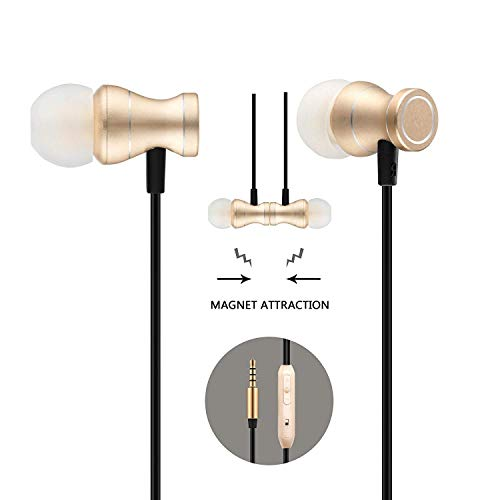 in-Ear Earbuds Headphones, Bambud Magnetic Wired Earphones Stereo Bass Noise Cancelling Ear Buds Headsets with Microphone and Volume Control for All 3.5mm Jack Phones(Gold)