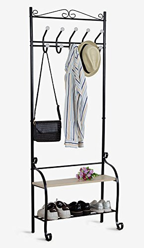 Yaker's collection Metal Entryway Coat Rack with 10 Hooks 2 Shoes Shelf Garment Rack Storage for Coat Hat Umbrella Rack (Black) - This HEAVY DUTY hall tree not only multifunctional, but also beautiful to look at. Rustproof material and polished with a dazzling black finish MULTIPURPOSE ORGANIZER: this 2-in-1 coat tree used as a coat rack with 10 heavy duty hooks, 2 ties shoe rack. DURABLE & STURDY: The main rob made by 0.75INCH Iron Metal make this clothes rack more durable, more sturdy and load-bearing better. - hall-trees, entryway-furniture-decor, entryway-laundry-room - 41OrbeSSaDL -