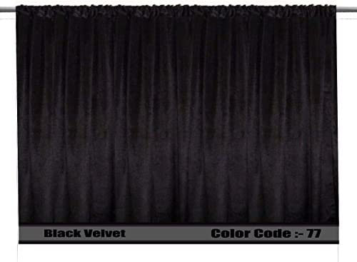 SAARIA Black velvet curtain panel stage studio decorative home theater backdrop window door movie hall drapes 20 ft W x 9 ft H