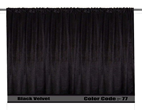 Saaria Black Home Fashion Luxurious Velvet Panels Drapes Doors Windows Curtains 7ft Wide and 8 ft High by Saaria Curtains